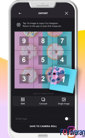 طریقه ساخت عکس پازلی برای اینستاگرامGrids – Giant Square Maker