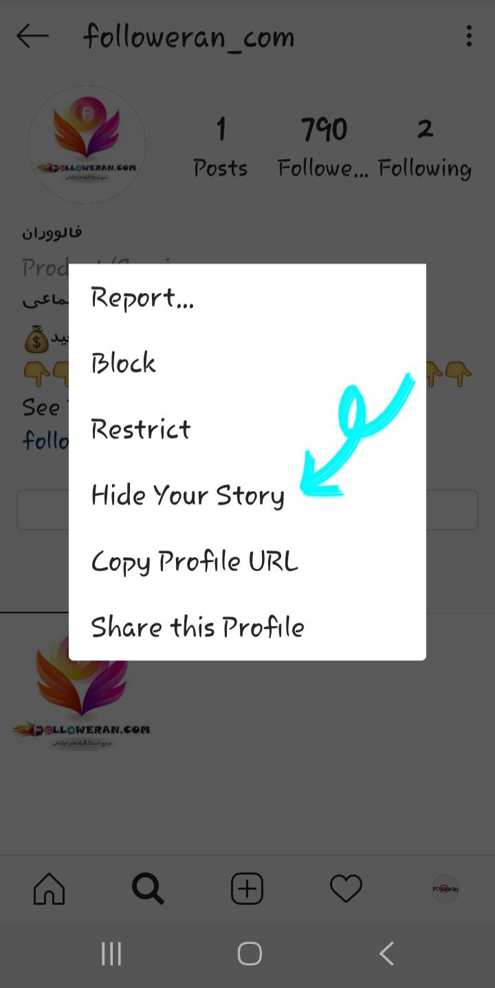 مخفی کردن استوری از طریق پروفایل کاربر