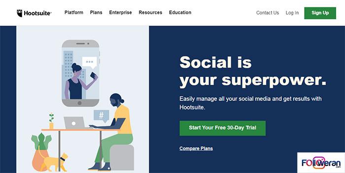 Hootsuite برنامه زمان بندى ارسال پست در اینستاگرام