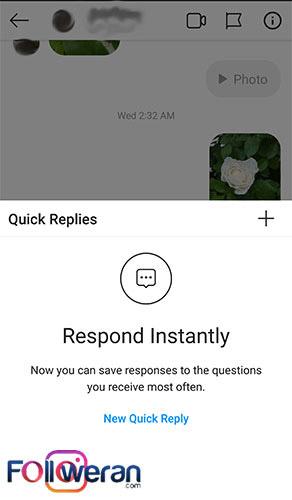 دیدن صفحه پاسخ سریع به دایرکت اینستاگرام از طریق چت مخاطب