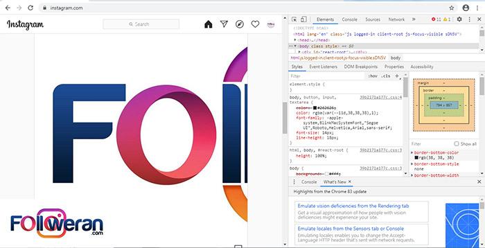 پنجره توسعهدهنده هنگام گذاشتن پست در اینستاگرام با کامپیوتر در کروم