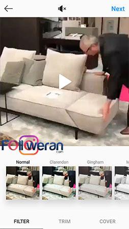 انتخاب کاور ویدئوی اینستاگرام