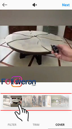 انتخاب کاور ویدئوی اینستاگرام هنگام ارسال