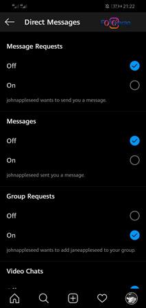 مراجعه به تنظیمات اعلانات دایرکت ها برای فعال کردن اعلان هایاینستاگرام