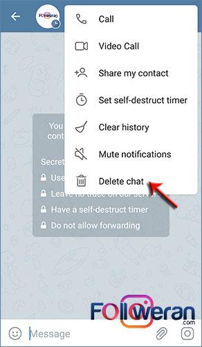 لغو و پایان دادن به گفتگوی محرمانه تلگرام