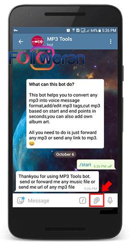 تبدیل فرمت فایل صوتی با ربات MP3Toolsbot در تلگرام