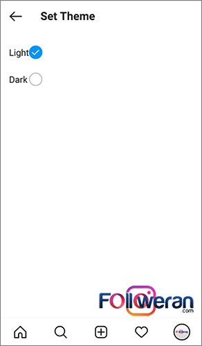بخش Theme در تنظیمات اینستاگرام