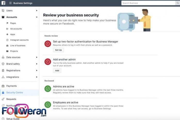 امنیت فیسبوک بیزینس منیجر