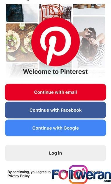 ساخت اکانت پینترست در گوشی موبایل مرحله اول